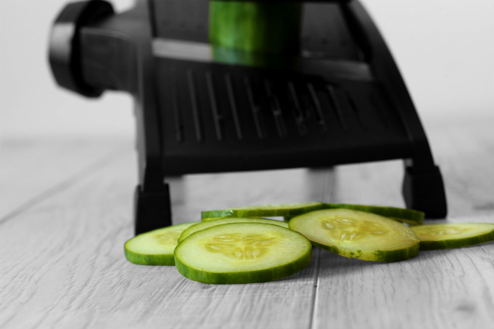 Mandoline Slicer and sliced cucumber