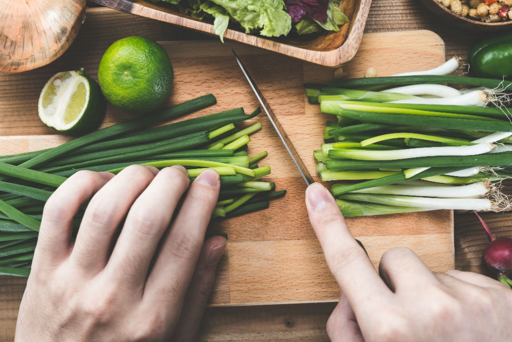 cutting leeks with knife