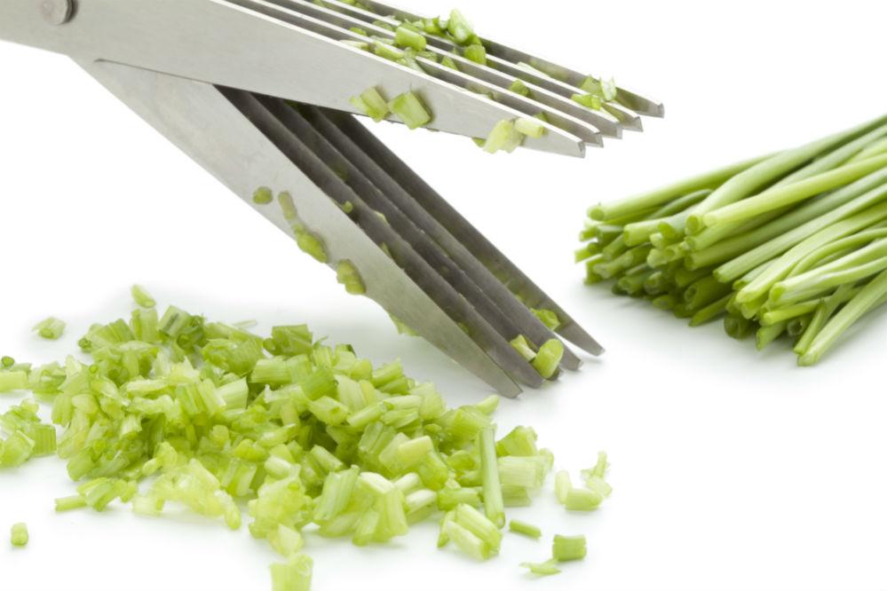 Herb Scissors cutting leeks